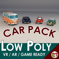 Low Poly Cartoon Classic Car Pack 01 3D Model