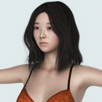 Realistic Beautiful Chinese Girl with Bra, Panty and Sandal 3D Model