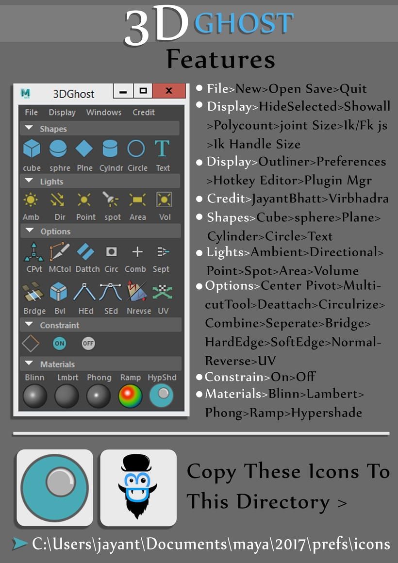 3D Ghost for Maya - Free Surface Tools Modeling Scripts