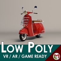 Low-Poly Cartoon Vespa Scooter 3 3D Model