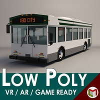Low-Poly Cartoon City Bus 3D Model