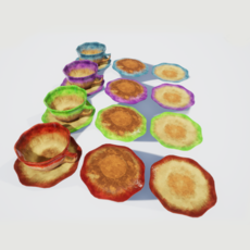 Teacup and Saucer Glazed Colors 3D Model