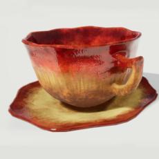 Teacup and Saucer Red Glazed 3D Model