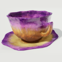 Teacup and Saucer Purple Glazed 3D Model