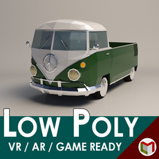 Low-Poly Cartoon Samba Pickup 3D Model