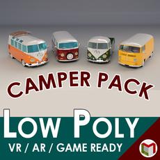 Low-Poly Cartoon Camper Van Pack 3D Model