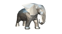 elephant figure low poly 2 3D Model