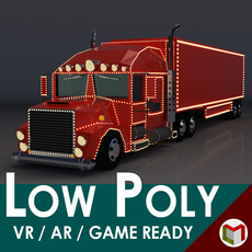 Low-Poly Cartoon Christmas Truck 3D Model