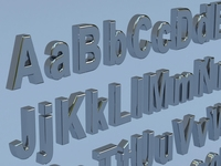 Alphanumerics characters in Arial format 3D Model