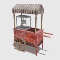 Old Popcorn Cart 3D Model