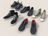 Men Shoes Collection Set 3D Model