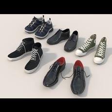 Men Shoes Collection Set 3D Model