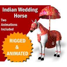 Indian Wedding Horse Rigegd and Animated   Add to wish list 0 0 3D Model