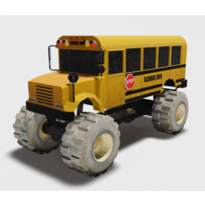 School bus monster truck 3D Model