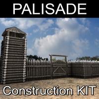 Palisade construction kit 3D Model