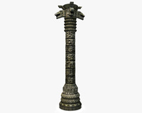 Detailed aztec column with snakes 3D Model