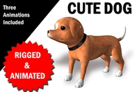 Cute Dog CHaracter RIgged and Animated 3D Model
