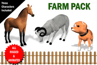 Farm Animals Pack Fully RIgged and Animated 3D Model