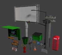 STREET PROPS (LOW COST) 3D Model
