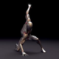 3D Silver Cyborg Maya Rig 0.0.1 for Maya