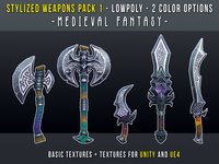 Stylized Weapons Pack | Game Ready LowPoly 3D Model