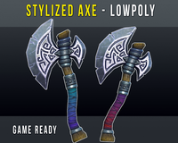 Stylized Lowpoly Axe, Game Ready 3D Model