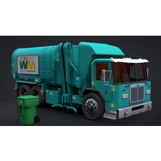 Garbage Truck C4D Rigged 3D Model