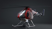 MD-520N NOTAR Helicopter C4D Rigged 3D Model