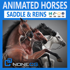 Horses Animated v3 3D Model