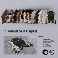13 PBR Animal Skin Carpets 3D Model