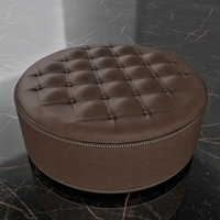 Round Leather Ottoman Footrest 3D Model