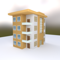 low poly building 3D Model