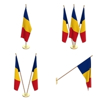 Romania Flag Pack 3D Model