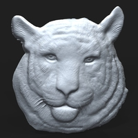 Siberian Tiger Head bas relief 3D Model
