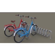 Bike Stand with Bikes 3D Model