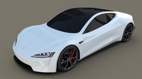 Tesla Roadster White 3D Model