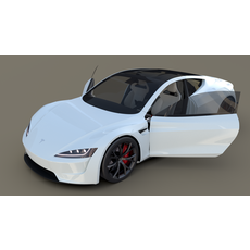 Tesla Roadster White with Interior 3D Model