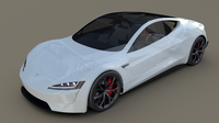 Tesla Roadster 2020 White with interior and chassis 3D Model