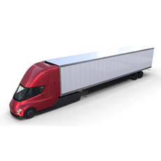 Tesla Semi Truck with Interior and Trailer Red 3D Model
