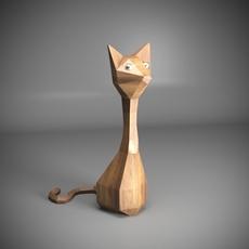 Wooden Cat 3D Model