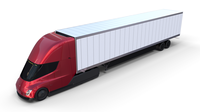 Tesla Truck Red w trailer 3D Model
