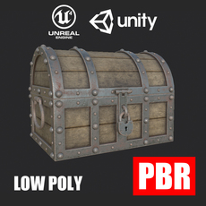 Treasure Chest Low Poly PBR 3D Model