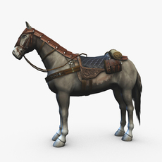 Horse with saddle armor and backpack 3D Model