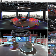 Virtual TV Studio Chat Sets Collection 11 3D Model