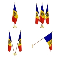 Moldova Flag Pack 3D Model