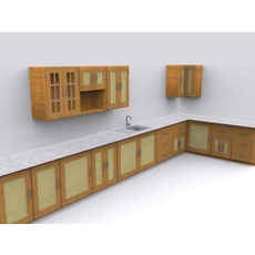 Low Poly Kitchen Interiors 3D Model