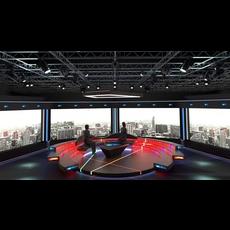 Virtual TV Studio Chat Set 2 3D Model