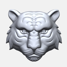 Tiger Face bas relief 3D Model