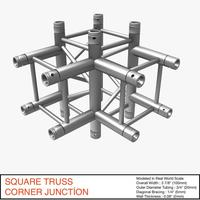 Square Truss Corner Junction 44 3D Model