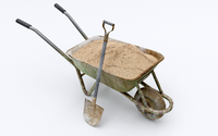 Wheelbarrow with Sand 3D Model
